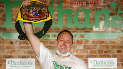 Photos: Joey Chestnut sets record eating 75 hot dogs at Nathan's hot dog eating contest