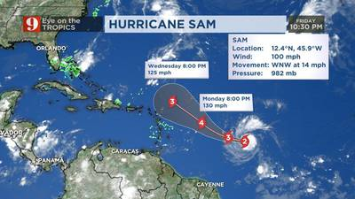 Hurricane Sam 'quickly strengthening,' upgraded to Category 2 hurricane