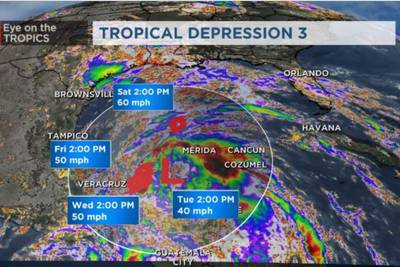 Crystobal forms in the Gulf of Mexico, becomes third named storm of the season