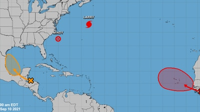 Hurricane Larry to bring heavy rain to Canada; 2 other disturbances being monitored in the Atlantic
