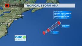 Ana becomes a tropical storm, continues moving northeast in the Atlantic