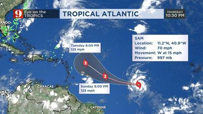 Sam likely to become major hurricane this weekend, may get 'uncomfortably close' to Caribbean